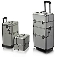 Best Choice Products® 2 in 1 Cosmetic Rolling Case Makeup Artist Cast Aluminum Body