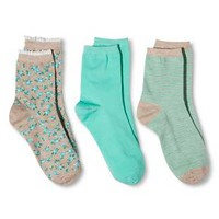 Women's Legale Fashion Crew Socks 3-Pack - Teal/Oatmeal One Size : Target