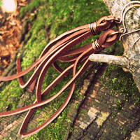 earth. a pair of recycled leather fringe shoulder duster festival earrings. READY TO SHIP