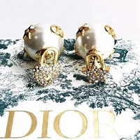 Dior Classic Trending Women Diamond Pearl Earrings Accessories Jewelry