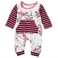 Spring Autumn born Toddler Kids Baby Girl Floral Clothes Long Sleeve Romper Jumpsuit One-piece