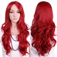 """28"""" Dark Red Full Hair Wig Kanekalon for Women Long Curly Wavy Natural Cosplay Daily Party Dress Wigs"""