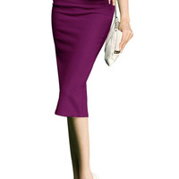 Purple Stretchy Pencil Skirt In Knit