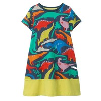 Girls Dinosaur Dresses Unicorn Baby Girls Summer Clothes Kids Princess Dress Vestidos Toddler Clothing Children Cotton Dress