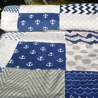Nautical Baby quilt,navy,grey,Baby boy bedding,baby girl quilt,Patchwork Crib quilt,chevron baby blanket,dots,waves,modern,fleece,Out to Sea