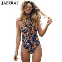 One Piece Suit Floral Print Swimwear Women Lace Up Swimsuit Backless Bathing Suit tie at Front