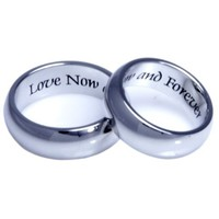COUPLES RING (TWO RINGS) LOVE NOW AND FOREVER - High quality etched stainless steel ring. Hypo-allergenic. Inspirational Relationship Jewelry Wedding Band / Wedding Ring / Promise Ring.
