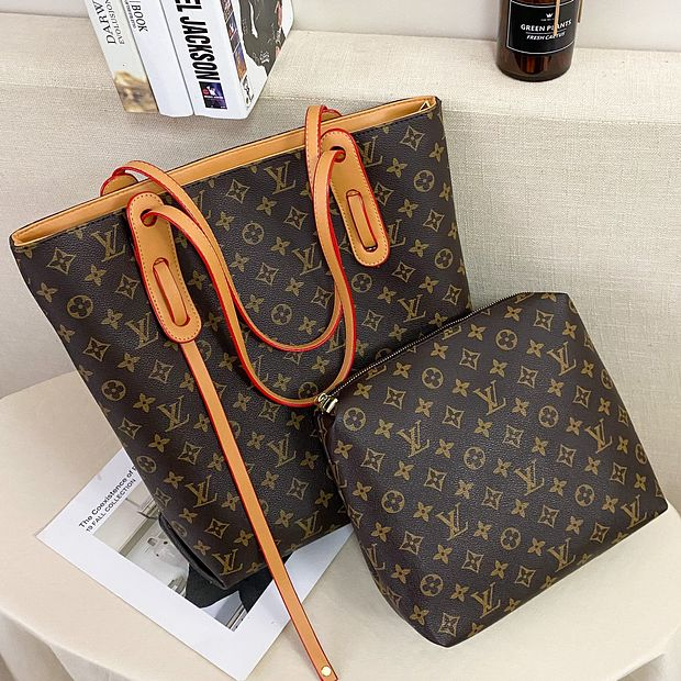 Image of Louis Vuitton LV New Product Classic Letter Printing Ladies Two-piece Shopping Shoulder Bag Messenger Bag Handbag