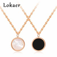 Lokaer Classic Love Black White Shell Chain Pendant Necklace Rose Gold Color Stainless Steel Chokers Necklaces Jewelry LGX1324