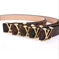 Louis Vuitton LV Trending Woman Men Stylish Smooth Buckle Belt Leather Belt I/A