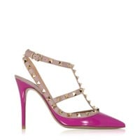 Valentino Designer Shoes Rockstud Fuchsia & Powder Leather Ankle Strap Pump