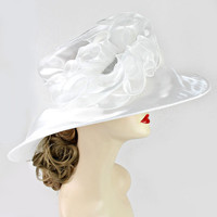 New for 2015 White Ivory Wedding Dress Hat Kentucky Derby Hat Womens Wide Brim Church Sun Hat New