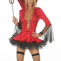 Stand Collar Deep Lace Up Cutout  V-Neck Flounced Lil Devil Costume