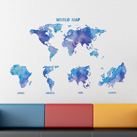kcik1914 Full Color Wall decal Watercolor World map living room bedroom