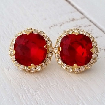 Deep Red Swarovski crystal stud earrings, Red stud earrings, Bridal earrings, Bridesmaid gift, rose gold yellow gold or silver, stud or drop