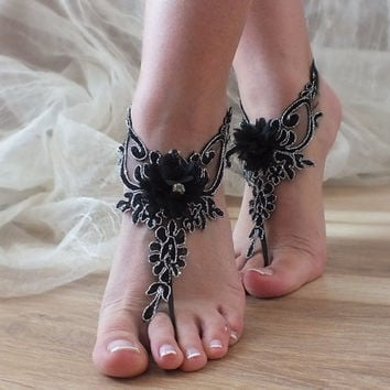 FREE SHIP Black lace wedding barefoot sandals Silver frame french lace sandals, wedding anklet, Beach wedding barefoot sandals,