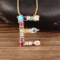 Gold Color Initial CZ Necklace Personalized Letter Necklace Name Jewelry For Women Accessories Best Gift