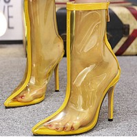 Hot style pointed color transparent high boot shoes