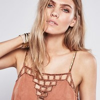Free People Silver Haze Embellished Suede Tank