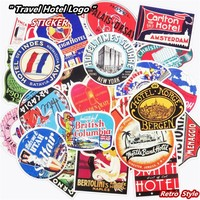 Mixed 55 Pcs Retro Style Travel Hotel Logo Stickers Chicago Hawaii Baghdad Trip Luggage Waterproof Sticker Toy Funny PVC Decals