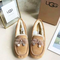 UGG Women New Fashion High Quality Bow-Knot Keep Warm Shoes Brown