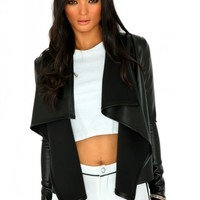 Missguided - Mallorie Faux Leather Waterfall Jacket