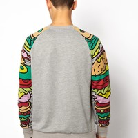 Lazy Oaf   Lazy Oaf Sweat with Sandwich Arms at ASOS