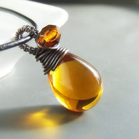 Honey brown necklace, rustic copper necklace, glass drop wire wrapped jewelry