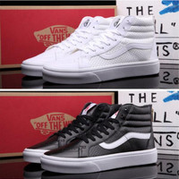 """""""vans"""" Classic tending leather hollow zipper high top casual shoes Black"""