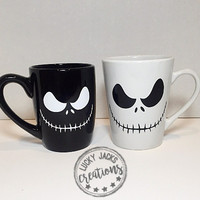 The Nightmare Before Christmas Jack Skellington Mugs / Single or Set of 2 / Black and White Mugs / Halloween Mug / Disney/Tim Burton Mug