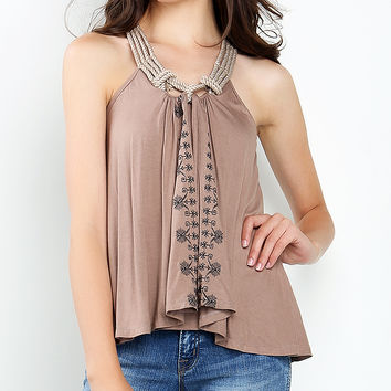Embroidery Detail Jersey Cami