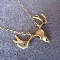 Long Layering Necklace, Copper Chain Necklace, Antiqued Bronze Deer Antlers Necklace, Moose Antlers Necklace, Bridesmaids Jewelry