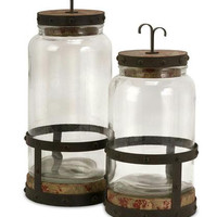 2 Jar Canisters - Rustic Base & Lid
