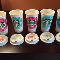 Reusable Starbucks Cups BPA FREE..w/ FREE Monogramed lid !!