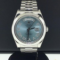 Rolex Day-Date II President 41mm Ref 218206 Platinum Factory Blue Diamond Roman