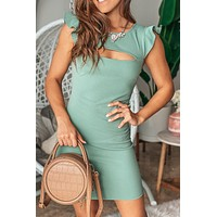 Green Short Dress with Cut Out Detail