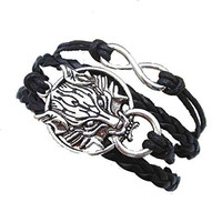 Basket Hill, Silver Tone Wolf and Infinity Bracelet on Black Leather