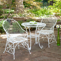 Gloss White 3-Piece Outdoor Dining Bistro Set with Round Table & 2 Arm-Chairs