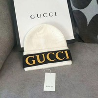 GUCCI Woman Fashion Beanies Winter Embroidery LOGO  Hat Cap-White