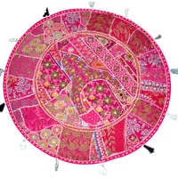 """XL 32"""" Round Pink Floor Pillow Cushion pouffe gypsy Bohemian Patchwork floor cushion pouf Vintage Indian Foot Stool Bean Bag tapestry decor"""