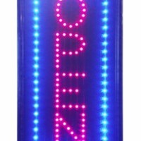 UbiGear 10 * 19 inch Animated Motion LED Business Vertical Open Sign +On/off Switch Bright Light Neon
