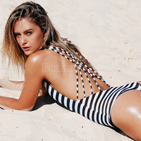 Sexy High Cut One Piece Bandage Backless Swimwear One Piece Swimsuit 2016 Hot Black White Navy Striped Padded Strap Monokini