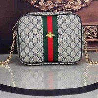 Gucci Bee bag Leather Shoulder Bag Crossbody Satchel bag Square bag Green