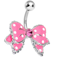 Dandy Pink and White Polka Dot Bow Belly Ring   Body Candy Body Jewelry