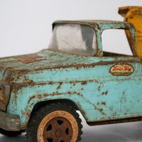 Old Blue Tonka Truck with Yellow Car Carrier by flattirevintage
