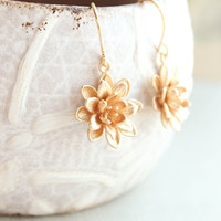Lotus Flower Earrings Gold Daisy Drop Earrings Spring Wedding Mothers Day Gift for Women Nickel Free Water Lily Unique Small Dangle