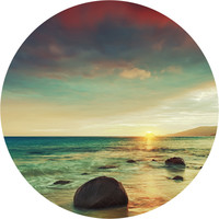 Sunset Beach Circle Wall Decal