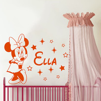 Wall Decal Name Vinyl Sticker Decals Minnie Mouse Home Decor Design Mural Disney Personalized Custom Baby Name Mice Ears Baby Decor AN683