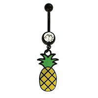 Belly Button Ring Pineapple Navel Black Stainless Steel 14G Body Piercing Jewelry