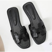 Hermes Classic Hot Sale Women Leather Slipper Sandals Shoes Black